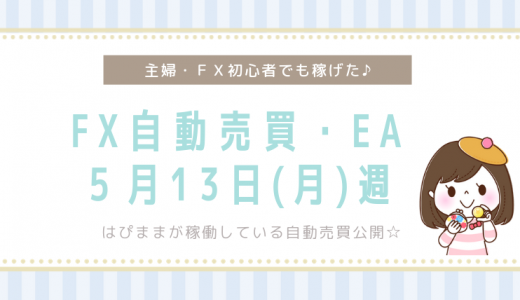 【絶好調】5/13(月)週のFX自動売買による不労所得は4万5千円でした!